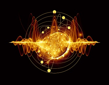 Atomic series. Abstract concept of atom and quantum waves illustrated with fractal elements