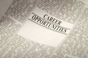Newspaper career opportunity ad, employment concept. jobs available